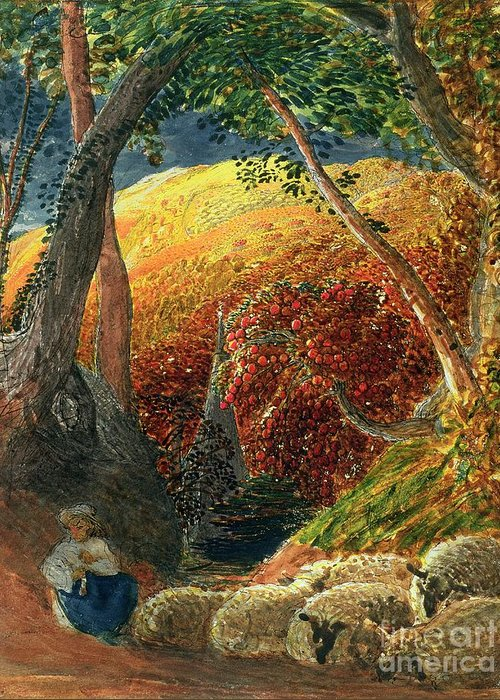 The Magic The Magic Apple Tree (indian Ink & W/c) By Samuel Palmer (1805-81) Greeting Card featuring the painting The Magic Apple Tree by Samuel Palmer
