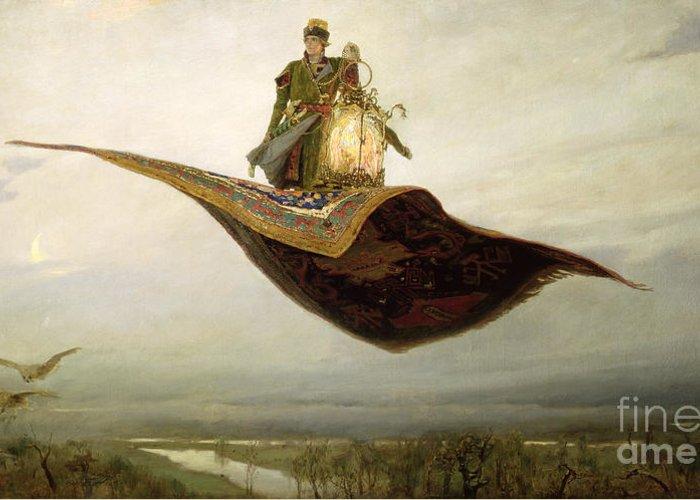 Magical Greeting Card featuring the painting The Magic Carpet by Apollinari Mikhailovich Vasnetsov