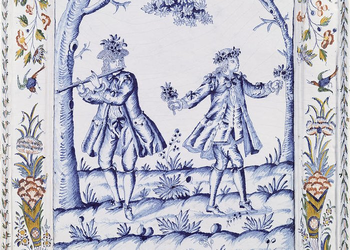 Plaque Greeting Card featuring the painting The Magic Flute by French School