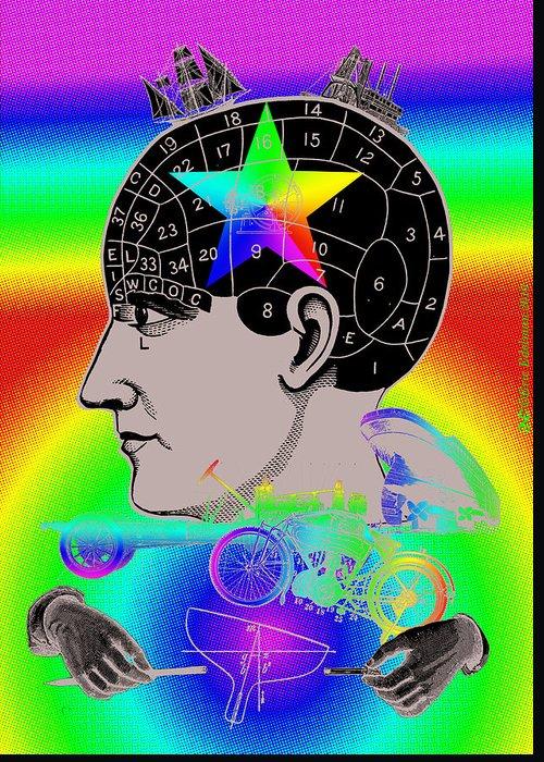 Phrenology Greeting Card featuring the digital art The Main Idea by Eric Edelman