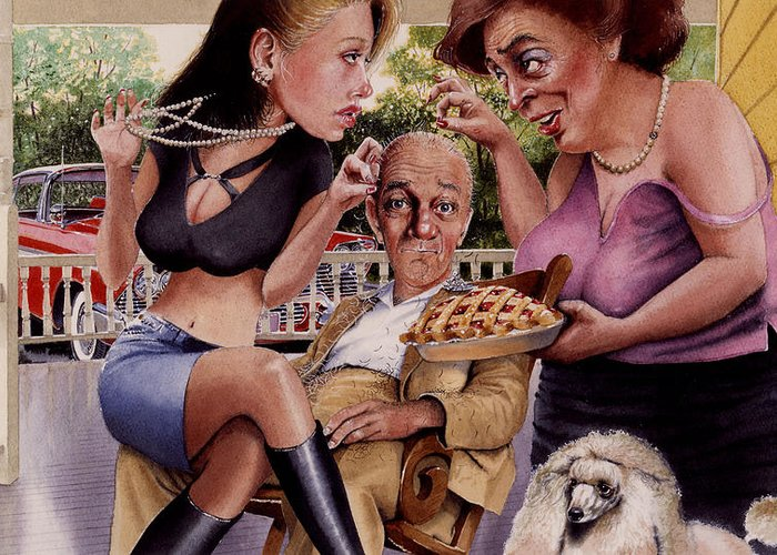Caricature Greeting Card featuring the painting The Man And His Sweethearts by Denny Bond