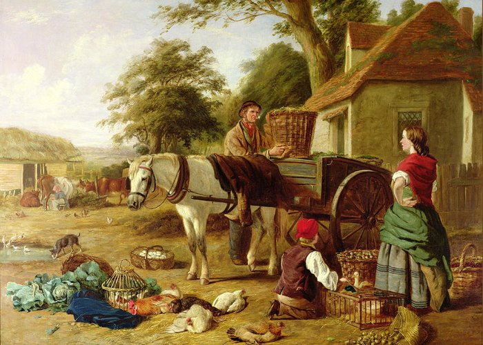 Rural; Farm; Horse; Harness; Poultry; Chickens; Ducks; Cows; Milking; Produce; Eggs; Cabbages; Bulbs; Farmyard; Farmhouse; Farmer; Family; Homegrown; Barrow; Victorian Greeting Card featuring the painting The Market Cart by Henry Charles Bryant