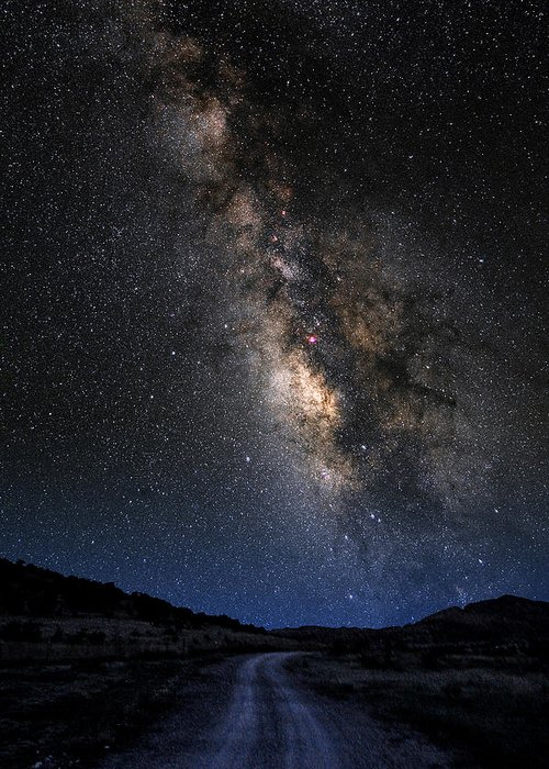 Astronomy Greeting Card featuring the photograph The Milky Road Version Two by Larry Landolfi