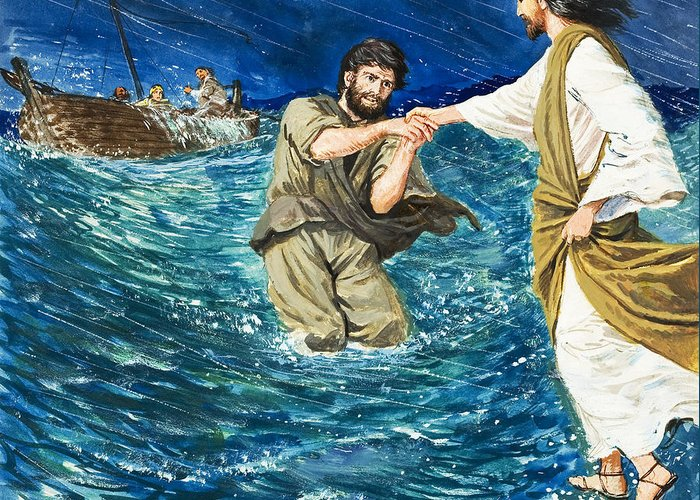 The Miracles Of Jesus Walking On Water Greeting Card for Sale by Clive Uptton