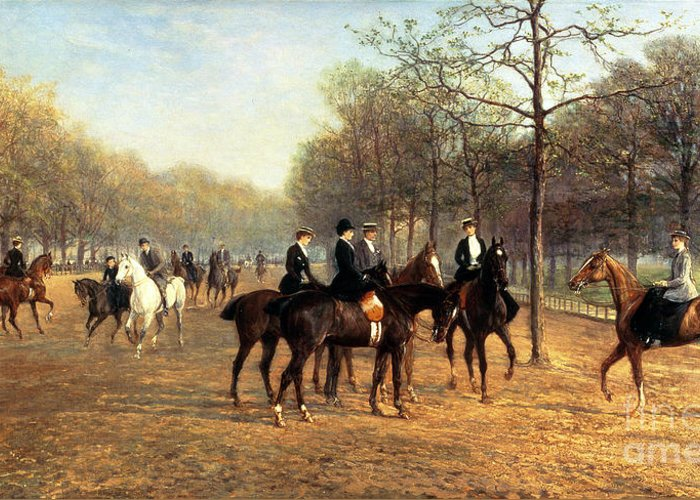 Riding; Exercise; Social; London; Horse; Rider; Leisure Greeting Card featuring the painting The Morning Ride Rotten Row Hyde Park by Heywood Hardy