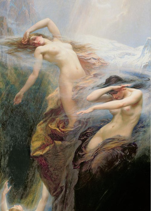 Nude Greeting Card featuring the painting The Mountain Mists by Herbert James Draper