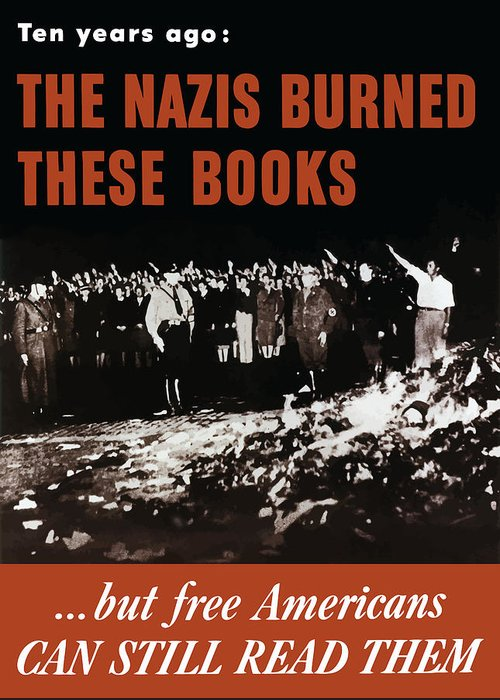 Free Speech Greeting Card featuring the painting The Nazis Burned These Books by War Is Hell Store