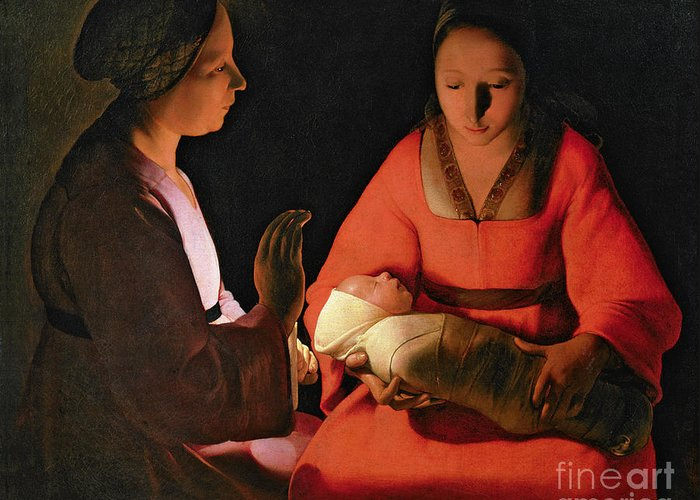 The New Born Child Greeting Card featuring the painting The New Born Child by Georges de la Tour