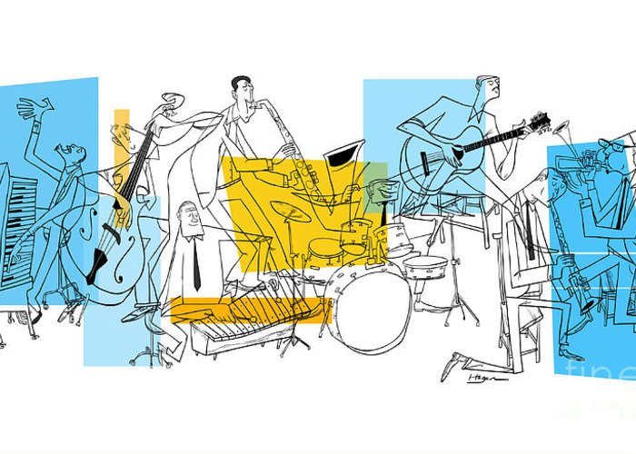Jazz Greeting Card featuring the digital art The Octet by Sean Hagan
