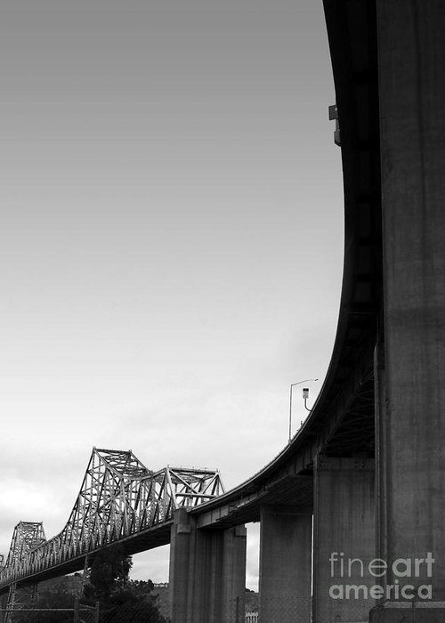 Transportation Greeting Card featuring the photograph The Old Carquinez Bridge . Black And White . 7d8832 by Wingsdomain Art and Photography