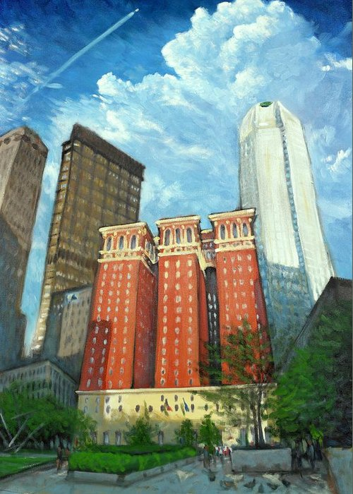 Cityscape Greeting Card featuring the painting The Omni William Penn Hotel by Erik Schutzman