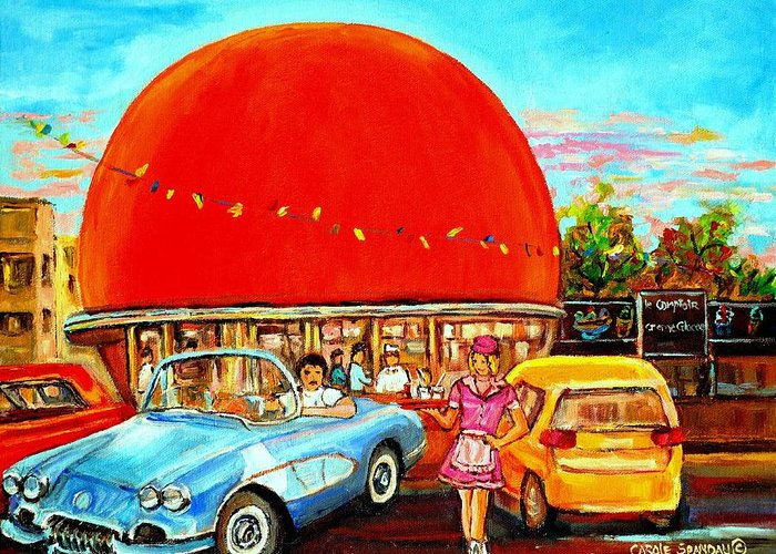 The Orange Julep Montreal Greeting Card featuring the painting The Orange Julep Montreal by Carole Spandau