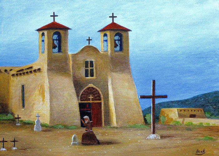 Old Greeting Card featuring the painting The Padre's Prayer by Gordon Beck