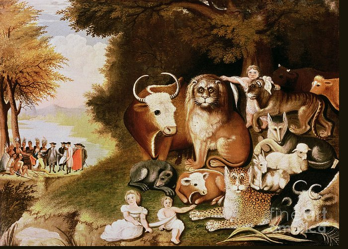 The Greeting Card featuring the painting The Peaceable Kingdom by Edward Hicks
