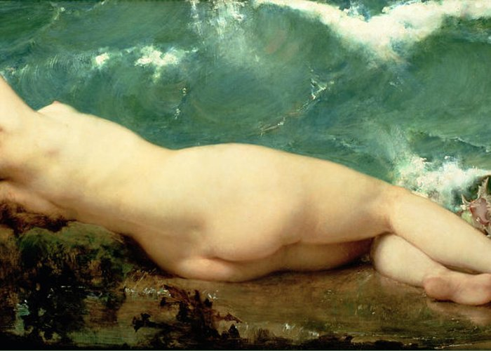 Nude Greeting Card featuring the painting The Pearl And The Wave by Paul Baudry