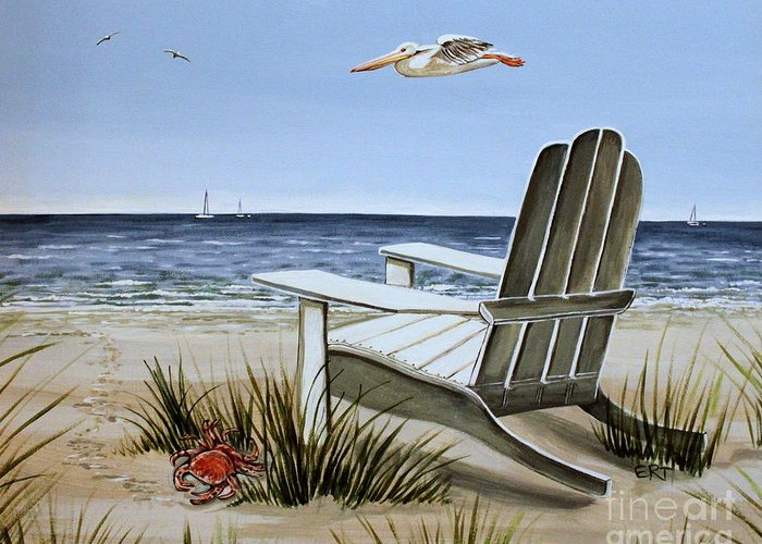 Landscape Greeting Card featuring the painting The Pelican by Elizabeth Robinette Tyndall