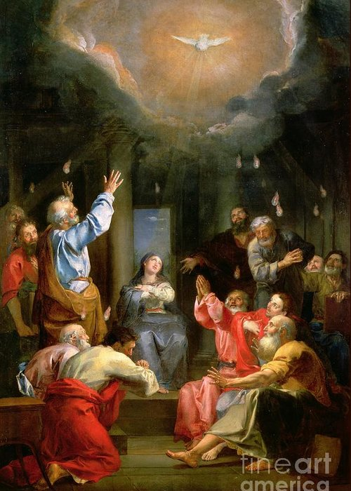 The Pentecost (oil On Canvas) Dove; Prayer; Adoration; Wonder; Virgin Mary; Madonna; La Pentecote; Faith Greeting Card featuring the painting The Pentecost by Louis Galloche