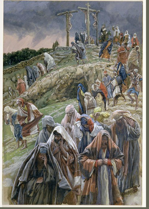 Greeting Card featuring the painting The People Beholding The Things That Were Done Smote Their Breasts by Tissot