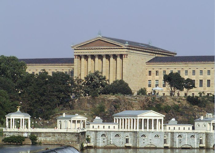 The Philly Art Museum And Waterworks Greeting Card featuring the photograph The Philly Art Museum And Waterworks by Bill Cannon