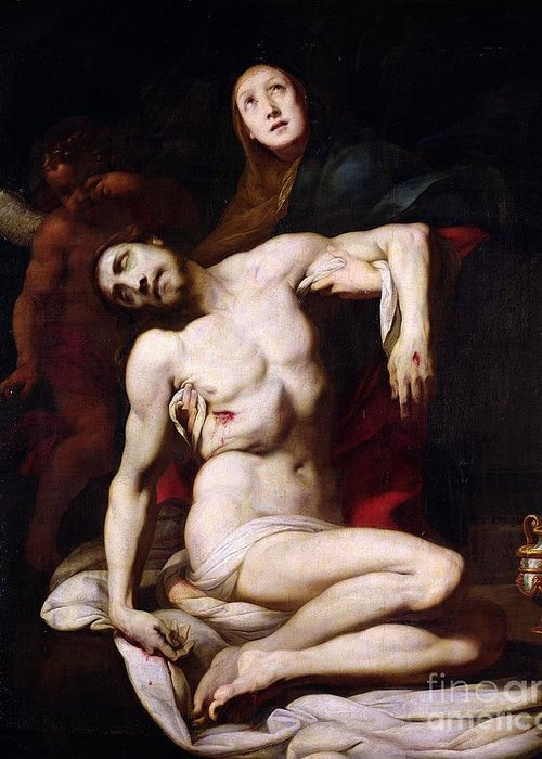 The Pieta Greeting Card featuring the painting The Pieta by Daniele Crespi