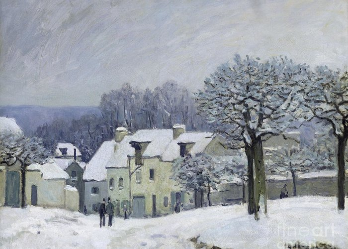 The Greeting Card featuring the painting The Place Du Chenil At Marly Le Roi by Alfred Sisley