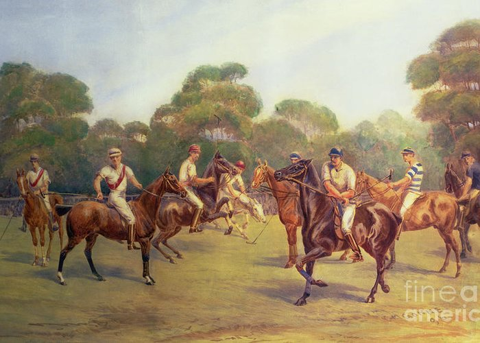 The Greeting Card featuring the painting The Polo Match by C M Gonne