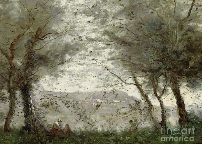 The Greeting Card featuring the painting The Pond by Jean Baptiste Corot