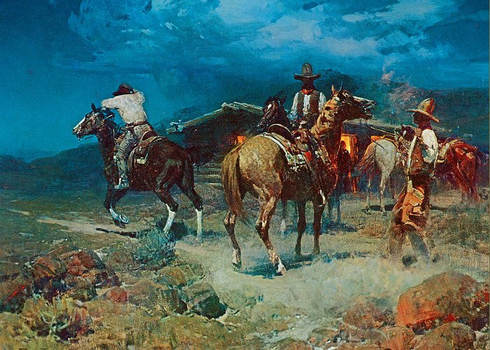 Frank Tenney Johnson Greeting Card featuring the painting The Pony Express by Frank Tenney Johnson