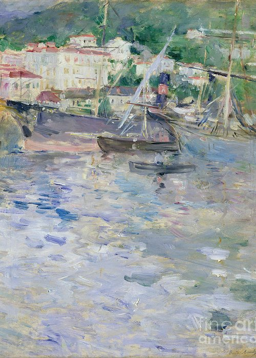The Greeting Card featuring the painting The Port At Nice by Berthe Morisot