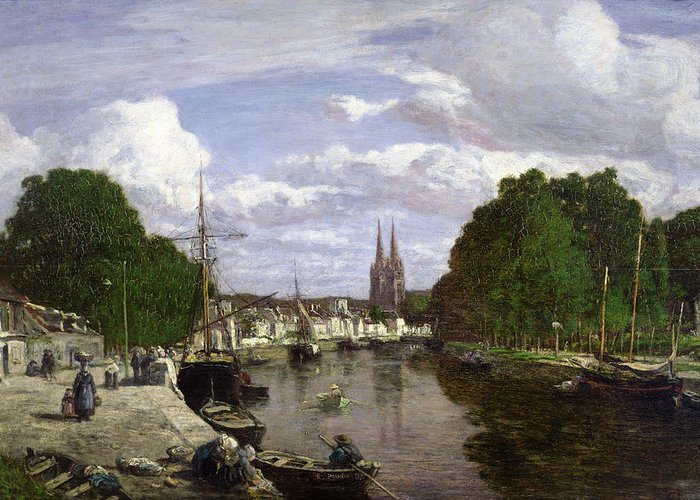 The Greeting Card featuring the painting The Port At Quimper by Eugene Louis Boudin