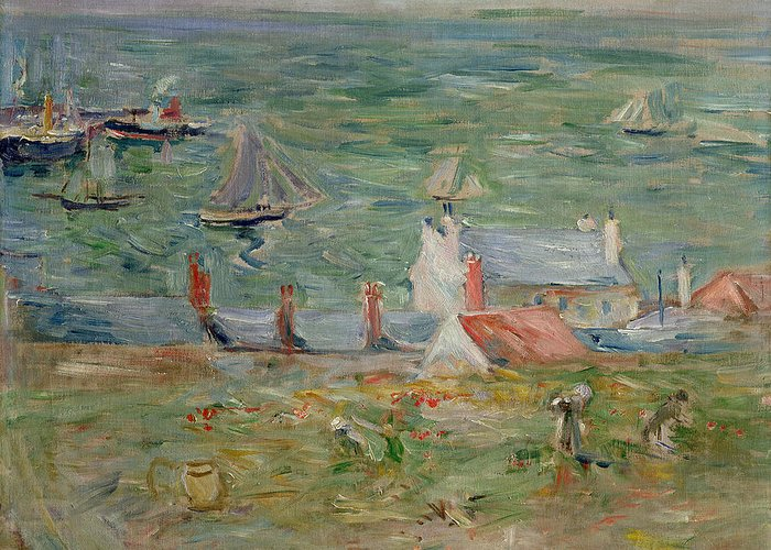 The Greeting Card featuring the painting The Port Of Gorey On Jersey by Berthe Morisot
