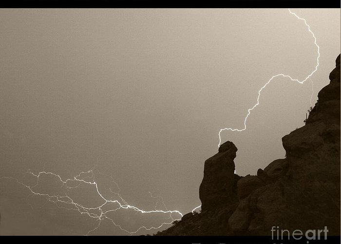 Praying Monk Greeting Card featuring the photograph The Praying Monk Camelback Mountain by James BO Insogna