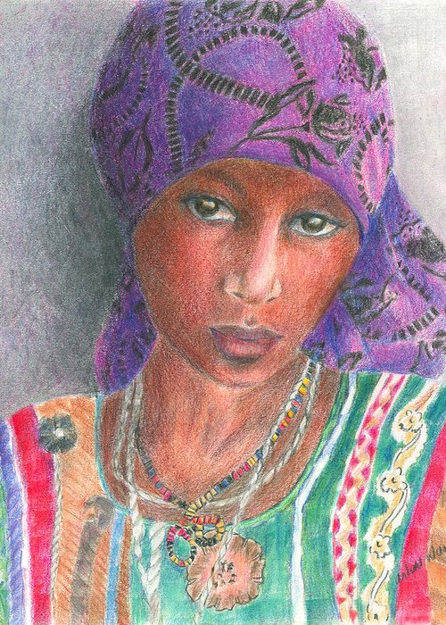 Purple Greeting Card featuring the drawing The Purple Scarf by Arline Wagner