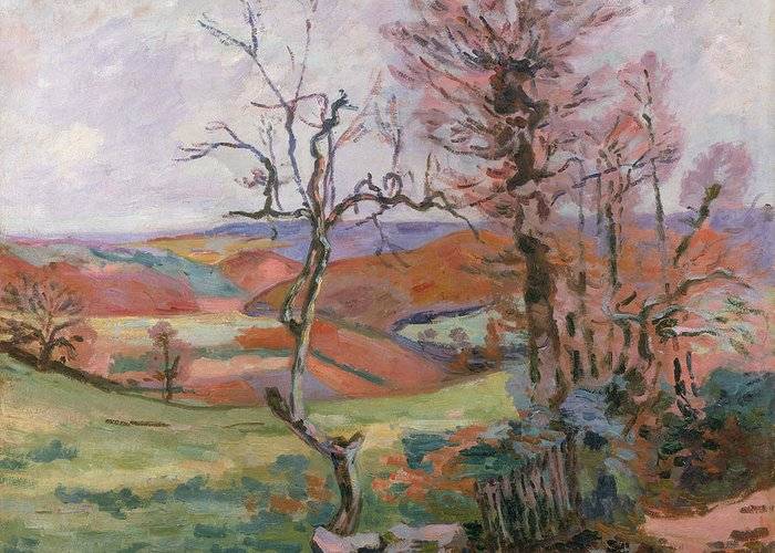 The Greeting Card featuring the painting The Puy Barion At Crozant by Jean Baptiste Armand Guillaumin