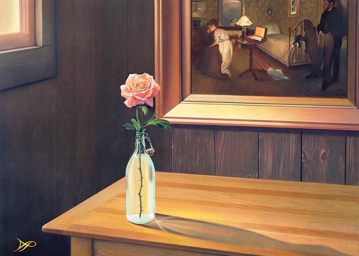 Rose Greeting Card featuring the painting The Rape by Patrick Anthony Pierson