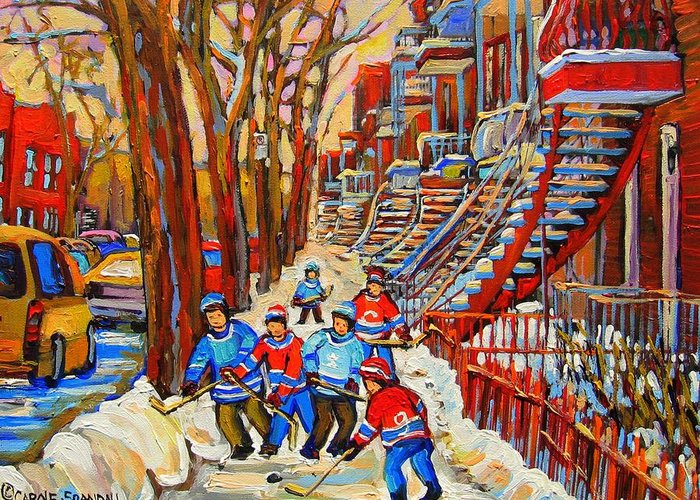 Greeting Card featuring the painting The Red Staircase Painting By Montreal Streetscene Artist Carole Spandau by Carole Spandau