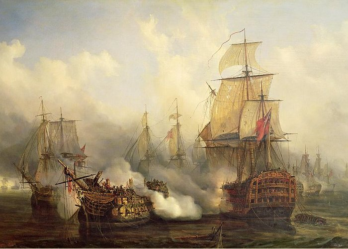 The Greeting Card featuring the painting The Redoutable At Trafalgar by Auguste Etienne Francois Mayer