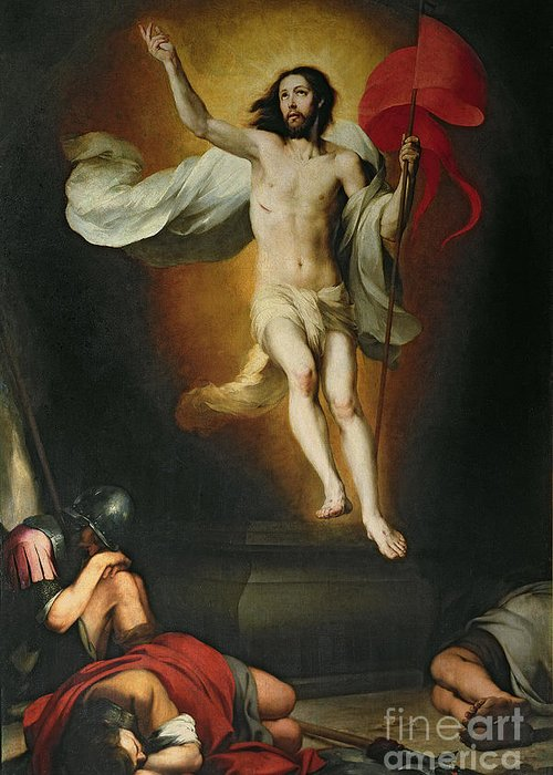 The Greeting Card featuring the painting The Resurrection Of Christ by Bartolome Esteban Murillo