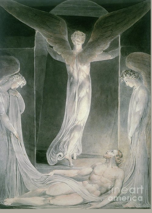 The Resurrection: The Angels Rolling Away The Stone From The Sepulchre By William Blake (1757-1827) Greeting Card featuring the drawing The Resurrection by William Blake