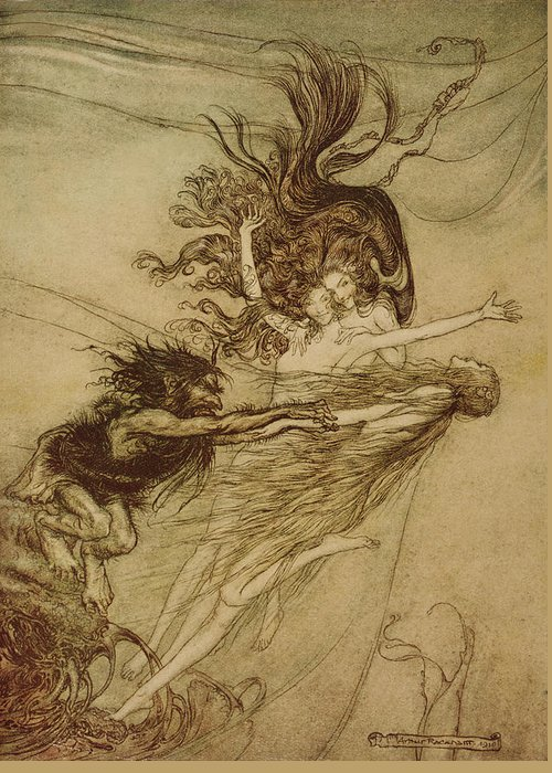 the Rhinemaidens Teasing Alberich From 'the Rhinegold And The Valkyrie' By Richard Wagner Greeting Card featuring the drawing The Rhinemaidens Teasing Alberich by Arthur Rackham