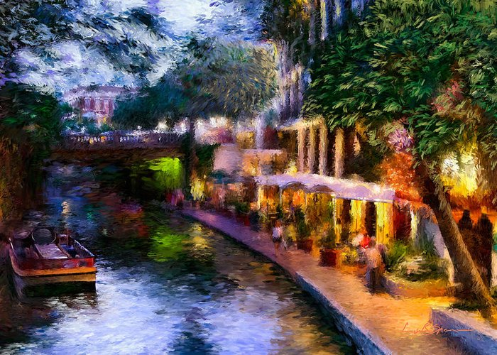 River Walk Greeting Card featuring the painting The River Walk by Lisa Spencer