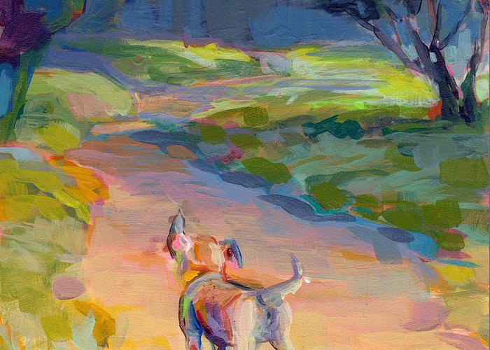 Puppy Greeting Card featuring the painting The Road Ahead by Kimberly Santini
