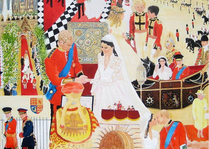 The Royal Wedding Greeting Card featuring the painting The Royal Wedding by Pat Barker