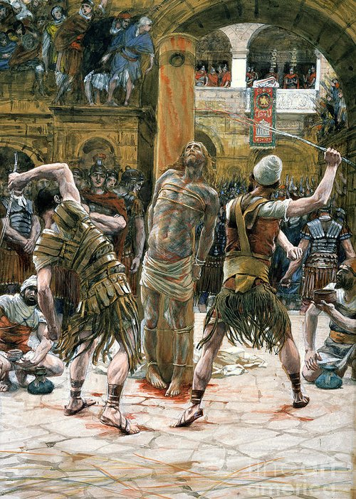Whips Greeting Card featuring the painting The Scourging by Tissot