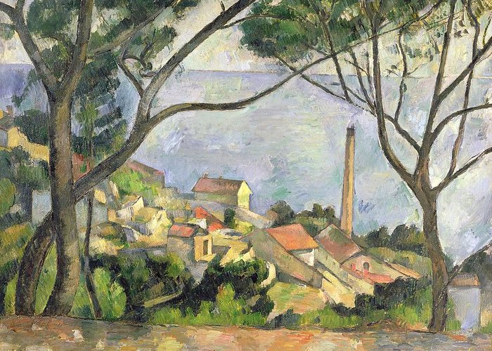 The Greeting Card featuring the painting The Sea At L Estaque by Paul Cezanne