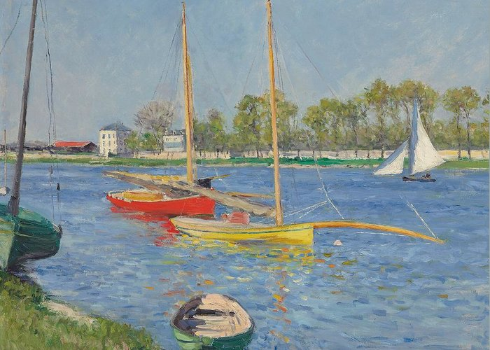 Argenteuil Greeting Card featuring the painting The Seine At Argenteuil by Gustave Caillebotte