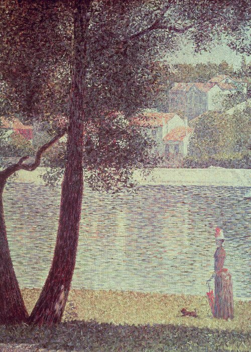 The Greeting Card featuring the painting The Seine At Courbevoie by Georges Pierre Seurat