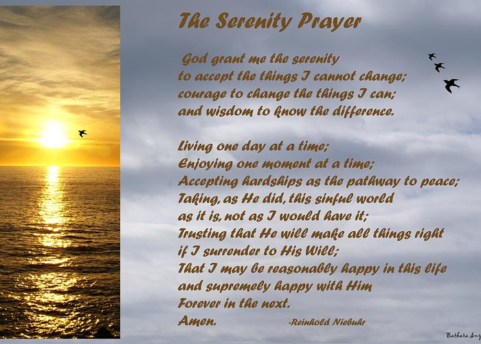Barbara Snyder Greeting Card featuring the digital art The Serenity Prayer by Barbara Snyder