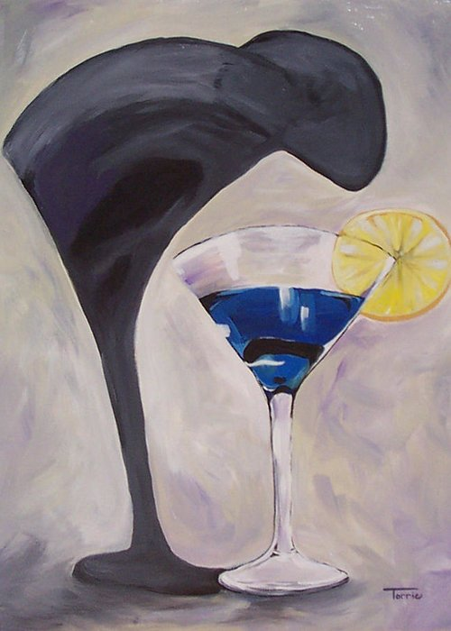 Martini Greeting Card featuring the painting The Shadow - Two by Torrie Smiley
