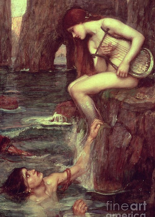 The Siren Greeting Card featuring the painting The Siren by John William Waterhouse